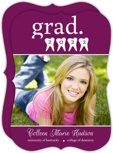 Purple Dentist Teeth Graduation Announcement