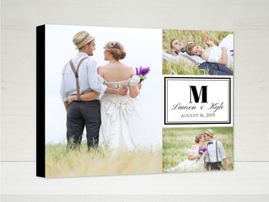 Monogram Grid Wedding Custom Canvas