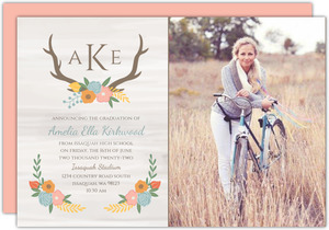 Rustic Pastel Floral Graduation Announcement
