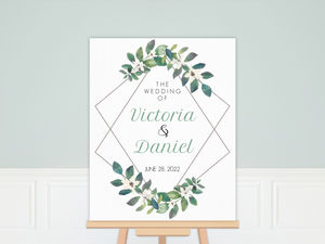 Diamond Frame Greenery Wedding Welcome Poster