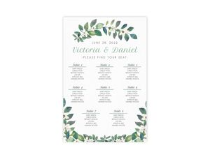 Greenery Frame Wedding Seating Chart Poster