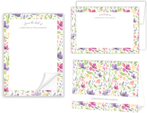 Seamless Watercolor Pattern Stationery Set