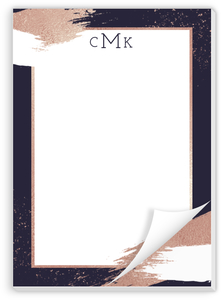 Faux Rose Gold Modern Brushstroke Custom Notepad