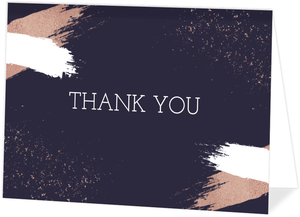 Faux Rose Gold Modern Brushstroke Thank You Card