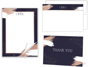 Faux Rose Gold Modern Brushstroke Stationery Set