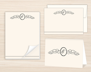 Flourished Monogram Crest Stationery Set