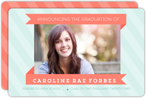 Mint and Coral Banner Graduation Announcement