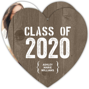 Rustic Gray Wood Graduation Announcement