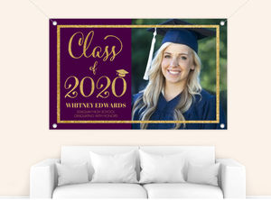 Violet & Faux Gold Glitter Graduation Photo Banner