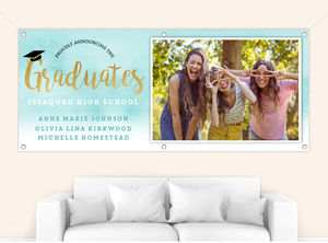 Aqua Watercolor Gradient Graduation Banner