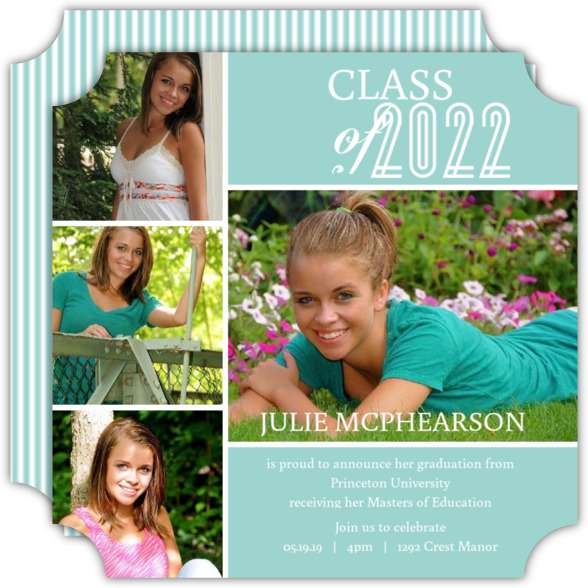 Green Photo Collage Graduation Announcement