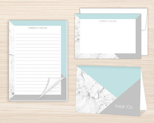 Modern Marble Geometric Stationery Set