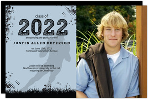 Blue Grunge Sports Graduation Announcement