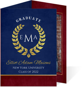 Navy and Gold Laurel Graduation Announcement
