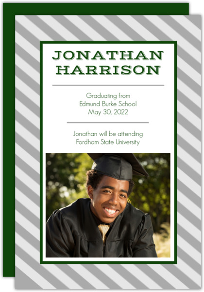 Green Striped Graduation Announcement