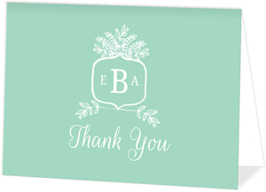 Whimsical Mint Monogram Thank You Card