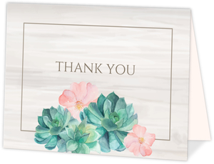Whimsical Watercolor Succulents Graduation Thank You Card