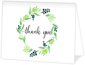 Green Watercolor Wreath Graduation Thank You Card