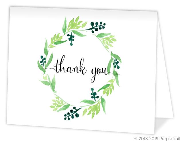 green watercolor wreath graduation thank you card graduation thank
