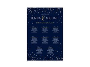 Faux Foil Confetti Wedding Seating Chart Poster