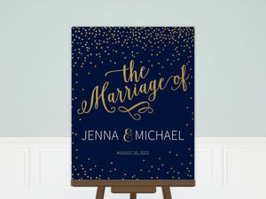Faux Foil Confetti Wedding Welcome Poster