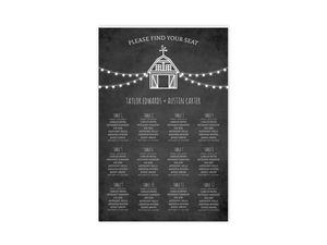 Rustic Barn Wedding Seating Chart Poster