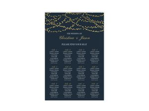 Gold Dangling Lights Seating Chart Poster