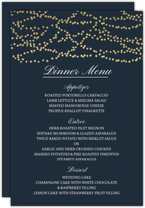 Gold Dangling Lights Wedding Menu