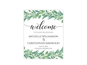 Gorgeous Greenery Wedding Welcome Poster