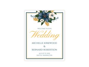Modern Blue Floral Wedding Welcome Poster