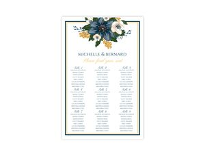 Modern Blue Floral Seating Chart Poster