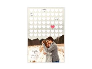 Hearts and Personalized Photograph Wedding Guest Book Poster