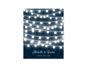 Glowing String Lights Wedding Guest Book Poster