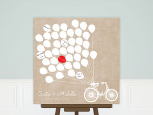 Bike With White Balloons Wedding Guest Book Poster