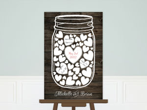 Rustic White Mason Jar Wedding Guest Book Poster