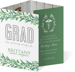 Greenery Watercolor Accordion Graduation Invitation