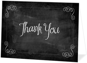 Chalkboard And Purple Graduation Thank You Card