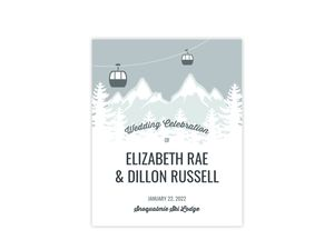 Whimsical Winter Mountains Wedding Welcome Poster