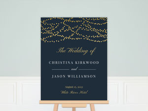 Gold Dangling Lights Wedding Welcome Poster