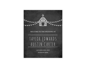 Rustic Barn Wedding Welcome Poster