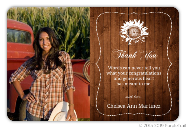Brown Country Chic Graduation Thank You Card