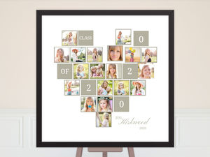Heart Shaped Photo Collage Graduation Poster