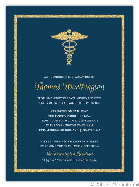Medical school graduation invitations medical school graduation bold gold faux glitter medical school graduation invitation filmwisefo