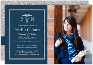 Nursing school graduation invitations nursing school graduation classic blue silver faux glitter nursing school graduation invitation filmwisefo