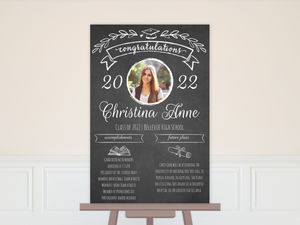White Chalkboard Infographic Graduation Poster
