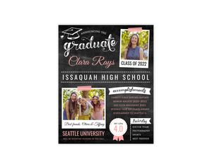Pink Chalkboard Typography Graduation Poster