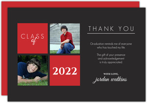 Red and Gray  set  Thank You Card