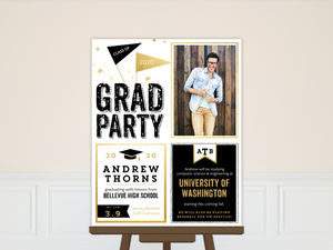 Faux Gold Black & White Graduation Poster