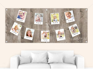 Rustic Hanging Photos Graduation Timeline Banner