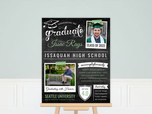 Green Chalkboard Typography Graduation Poster